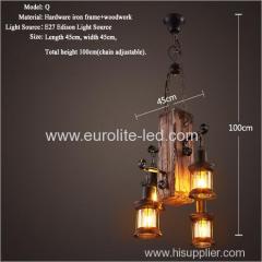 euroliteLED Novely Pendant Light Iron Glass Wood LOFT Retro Industrial Chandeliers(Vertical Wood)