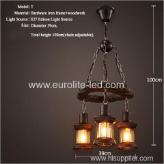 euroliteLED Novely Pendant Light Iron Glass Wood LOFT Retro Industrial Chandeliers(Moon Ring)