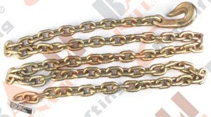 G80 GOLDEN GALVANIZED CHAIN SLING WITH BENT HOOK