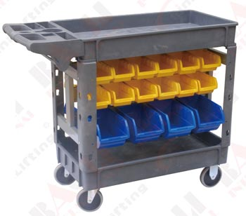 MOBILE SIDED STORAGE BUCKET HANGING SERVICE CARTS