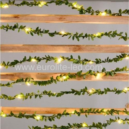 Led Green Leaves String USB 5m 20leds Fairy Room Holiday Wedding Decoration Night Light