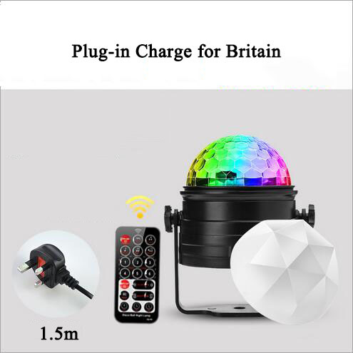 euroliteLED Mini Dj Disco Ball Party Stage Lights 7 Colors Remote Control Sound Activated(for Britain)