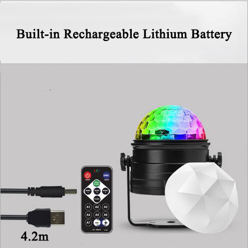 euroliteLED 400mAh Rechargeable Mini Dj Disco Ball Party Stage Lights 7 Colors Remote Control Sound Activated