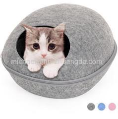 HOOPET Dog Cat Bed Cave Sleeping Bag Zipper Egg Shape Felt Cloth Pet House