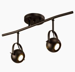 euroliteLED Two Heads Industrial Vintage Ceiling Spotlights Black Long Pole Spotlights