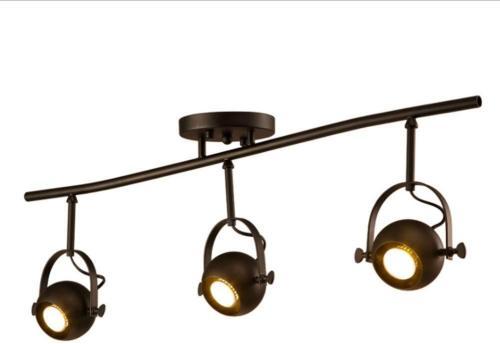 euroliteLED Three Heads Industrial Vintage Ceiling Spotlights Black Long Pole Spotlights