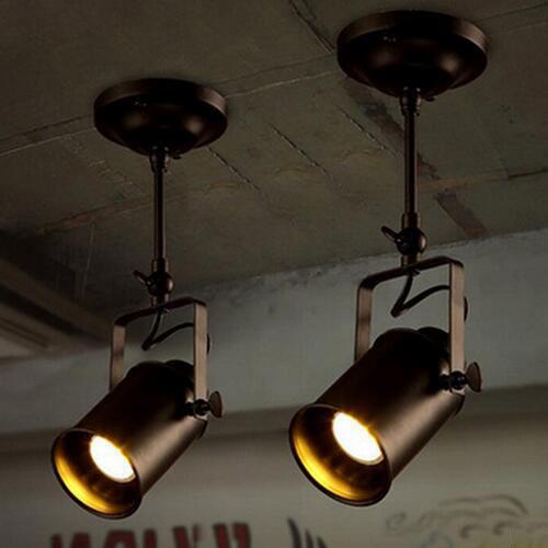 euroliteLED Two Heads Ceiling Light Industrial Retro Spotlight Adjustable Lamp Head Long Pole LED Light Fixture Black