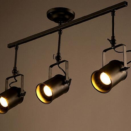 euroliteLED Three Heads Ceiling Light Industrial Retro Spotlight Adjustable Lamp Head Long Pole LED Light Fixture Black