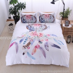 White Dream catcher Bedding Set comforter bedding sets king Bohemian Print Bedclothes King Feathers Duvet Cover set