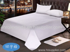 Hotel bedding white bed sheet Jacquard cotton sateen Flat sheet