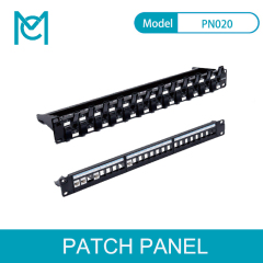 MC Modular Patch Panel Unshielded 24-Port Blank 1U Rack Mount Black Color