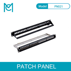 MC CAT5E/6/6A Modular Patch Panel Unshielded 24-Port Blank 1U Rack Mount Black Color