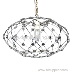 D380MM Round pendant with clear beads