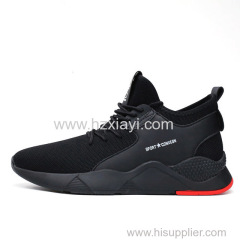2019 fashion odm oem classic trainers breathable mesh sport walking slip on black air knitted running casual shoes men s