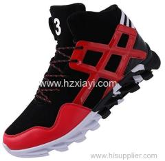 Made in China High Cut Leather Men Sneakers Basketball Shoes