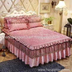Luxury Lace Bedding Bed Skirt set Velvet Thick Bedspread Bed Linen Pillowcase Princess Bedclothes bed cover King Queen