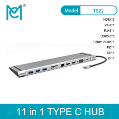 MC USB 11in 1Type C Hub 4K HDMI*2+USB3.0*3+VGA+3.5mm Audio+PD+SF+TF