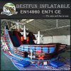 Inflatable pirate ship with slide inside