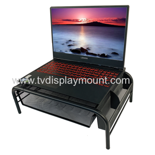 2020 New Office Furniture Black Adjustable Mesh Metal Monitor Riser Laptop Computer Stand with Pull Out Drawer