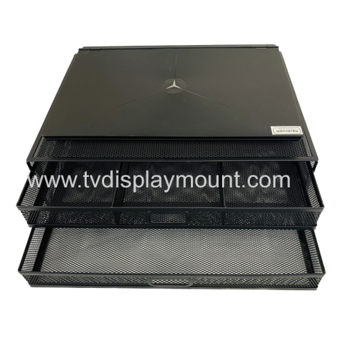 Mesh Metal Laptop Computer Monitor Stand Riser with Dual Pull Out Storage Drawer