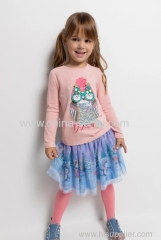 Childen's girls skirt with plisse mesh with printing