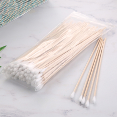 150 mm Single Head Industrial Cleaning Wooden Stick Long Cotton Swabs