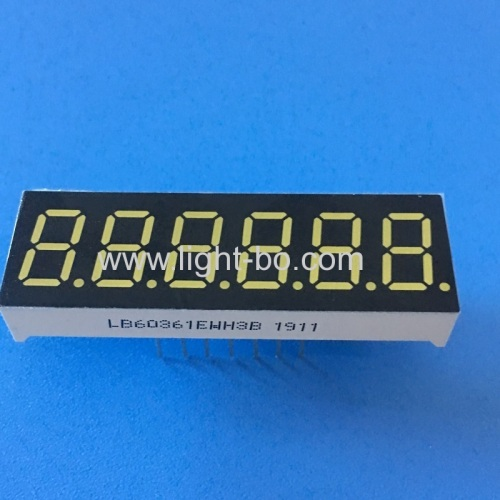 Ultra bright white 0.36 6 digit 7 segment led display for instrument panel