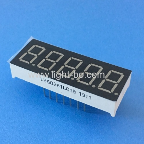 Pure Green 0.36inch 5 Digits 7 Segment LED Display Common cathode for instrument panel