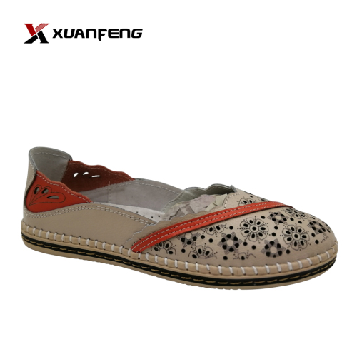 2020 Wholesale High Quality Women Leather Casual Shoes Flat Slip-on Shoes