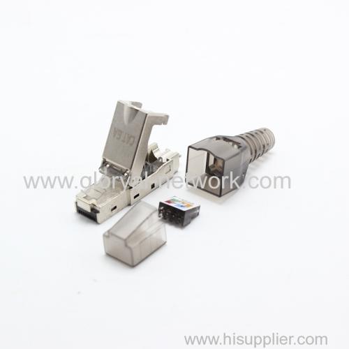 rj45 stp cat.6a or cat.6 connector toolless cat6a Modular Connectors Plug Metal Shield Plug