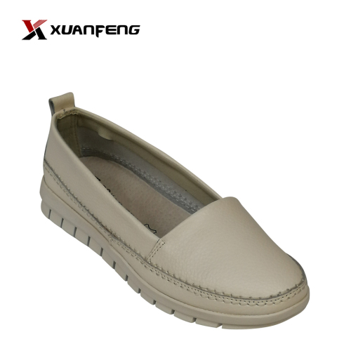 Womens Fashion Flat Shoes Blue Upper Leather Women Shoes Ballerina