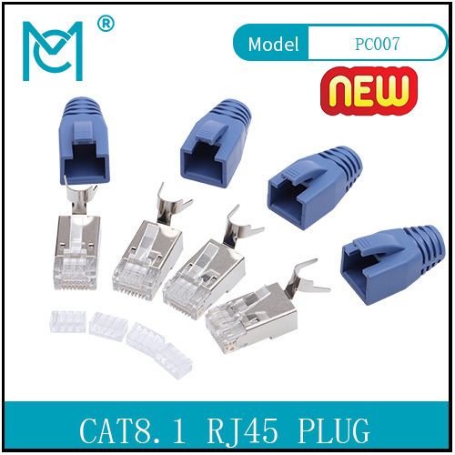 CAT 8.1 Modular Gold-plated RJ45 Plug 8P8C Shielded For Round Cable