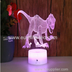 Led Acrylic Dinosaur 3D Colours Fire Cracks Kids Gift Room Decration Night Light