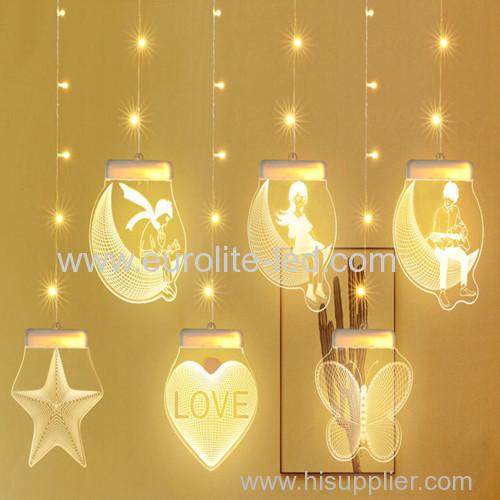 Led Acrylic 3D USB Decoration Pendant Holiday Icicle Light