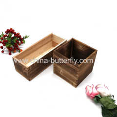 Wood Box Burnt Color For Flowers