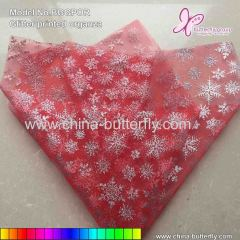 Snowflakes Glitter Organza For Flower Wrapping