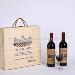 Wood Wine Box 4 Bottles