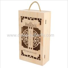 Hollow Wood Wine Box 2 Bottles