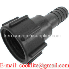 """IBC Tank Adapter DIN 61 Drum Fitting/Coupling with 1-1/4"""" Hose Tail"""