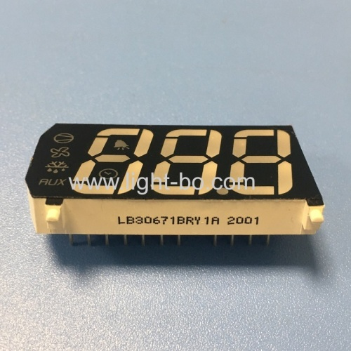 Ultra Red / Yellow triple digit 7 segment led display module common anode for digital refriretor indicator