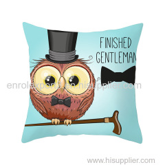 Cushion Cover Bed Lovely Pillow Case High Quality Cartoon Popular Owl Printed cushion case