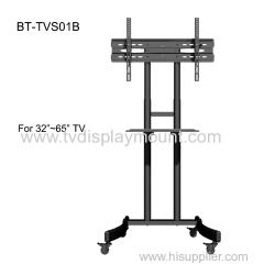 Mobile sliding TV cart removable shelf bracket for 55