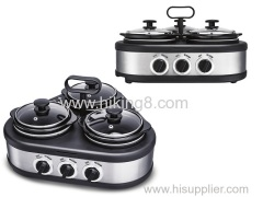 Hand Carry Triple Electric Slow Cooker Buffet Warmer