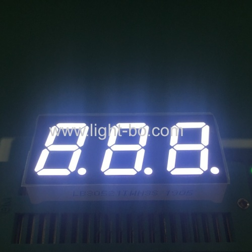 Ultra white 0.52 3 Digit 7 Segment led display common anode with 20mm LONG pins