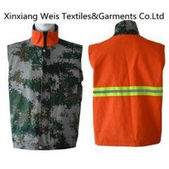 Flame Retardant Vest Double-Sided camouflage and orange with reflective tape