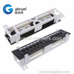 12 Port 10 inch CAT6 or CAT5E Patch Panel RJ45 Networking Wall Mount Rack Mount Bracket