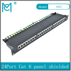Modular Patch Panel shielded 24-Port Blank 1U Rack Mount Black Color 24 Port Cat 6
