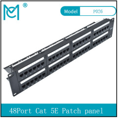 Modular Patch Panel Unshielded 24-Port Blank 1U Rack Mount Black Color 48Port Cat 5E Patch panel
