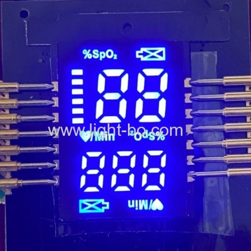ultradünnes kundenspezifisches smd led display ultra hellblau für fingerpulsoximeter