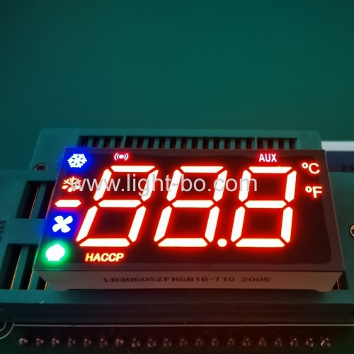 Multicolour Triple Digit 7 Segment LED Display with Minus Sign for refrigerator control panel